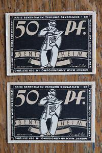 2x Notgeld Notgeldschein 1918-33 Bentheim 50 Pf Künstler sign. Krabbe ++++