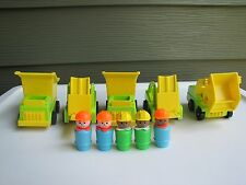 Vintage Fisher Price Little People Play Family Lift Load Depot Trucks  Figures