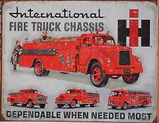 PLAQUE METAL PUBLICITAIRE vintage USA POMPIER INTERNATIONAL TRUCK - 41 X 32 CM