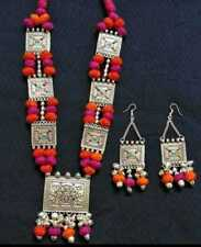 Indian Antique Silver Plated Oxidized Choker Jewelry Necklace with earrings