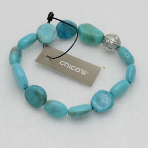 chico's women jewelry lightweight bracelet faux turquoise tennis bangle stretch