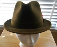 Stetson Hat Fedora Red Feather Trim 21 Inch Inside Size 6 7/8  Brown Vintage Hat