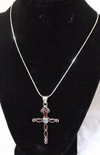 Nicky Butler Sterling Silver Cross Pendant w/Garnet & Moonstone on SS Chain