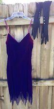 FLAPPER Dress & Gloves Size 9 Purple Fringe Over the Elbow Velvet Costume