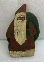 "Vintage Primitive Antique Santa Claus w/ Sack Painted on Wood Plank Board 10"""