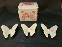 VTG HOMCO 3 Porcelain Ceramic White/Pink Butterflies Lasting Products Wall Art