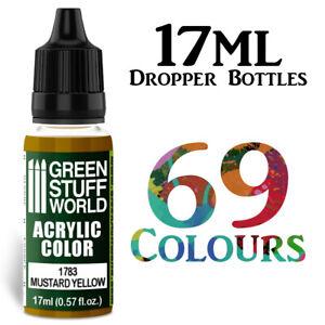 Green Stuff World Acrylic Colour Dropper Bottle Modelling Paints 17ml