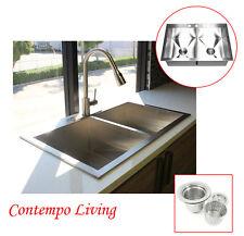 "New listing 33"" Double Bowl 50/50 Topmount Drop In Zero Radius Stainless Steel Kitchen Sink"