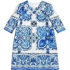 €825 DOLCE & GABBANA Blue Majolica Brocade Dress Robe Size 7/8 - Sold Out