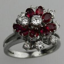 Sehr schöner 750er Weissgold Ring mit Rubine & 11 Brillianten 1,32 Karat - B3002