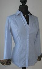 Express Women's Button Shirt Blouse Stretch Stripe Blue Animal Accent size Small