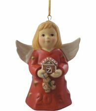 Goebel Angel Bell 2013 Nib Red Dress Holding Gingerbread House 108302 New Box