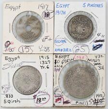 Egyptian coin Egypt 1911 10 Qirsh 1917 5 Piastres 1911 5 Qirsh 1917 10 Milliemes