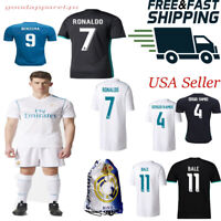 Real Madrid Ronaldo Bale Ramos Benzema Kids Jersey Kit Age 4-13 Yrs