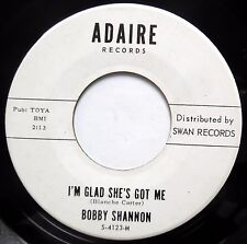 BOBBY SHANNON Teen R&B R&R ADAIRE 45 I'm Glad She's Got Me~Your Last Goodbye JRT