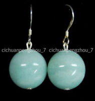 12mm Light Blue Brazilian Aquamarine Gems Round Beads Dangle Silver Hook Earring