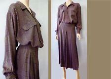 Vintage High End Rayon Oversize Jacquard Blouse Skirt Twin Set Midi dress L