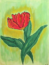 VINTAGE GOUACHE FLORAL PAINTING FLOWER SIGNED