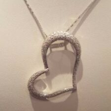 White 18k Gold Diamond Heart Pave Pendent Necklace LV Jewelry
