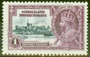 Somaliland 1935 1s Slate & Purple SG82L Kite & Horiz Log Fine Very Lightly Mtd