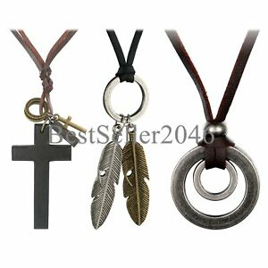 3pcs Leather Necklace for Men Women Vintage Feather Cross Adjustable Cord Chain