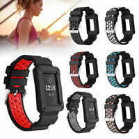 Silicone Sport Rugged Protective Frame Case Replacement Band for Fitbit Charge 3