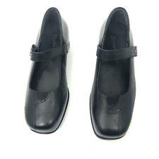 Kumfs 37.5 W Black Leather One Strap Rocker Mary Jane Comfort Shoes Size 6