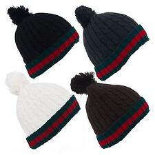 Stripe Pattern Unisex Knitted Pom Pom Ski Hat