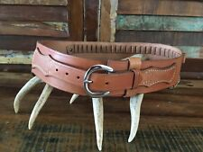 "Vintage Tex Shoemaker Brown Leather Western Drop Belt Buscadero .38 .357 36"" 40"""