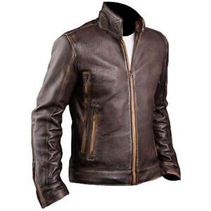 Men Cafe Racer Vintage Bikers Motorcycle Double Zip Brown Leather Jacket