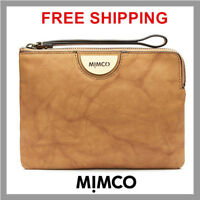 Mimco Echo Polished Leather Honey Medium Pouch Clutch Bag Wristlet Authentic DF