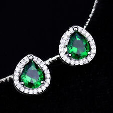 UK Charming Green Emerald Pear Drop Earring White Gold Filled Wedding Engagement