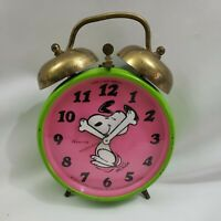 Snoopy Alarm Clock Pink & Green Wind Up West Germany Blessing Vintage 70s