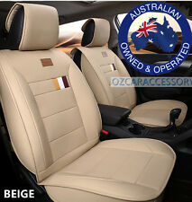 Beige Universal Leather Car Seat Covers Full Set Toyota Camry Corolla RAV4 LM