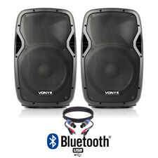 """Pair of Active Powered 12"""" Bluetooth DJ PA Disco Speakers with Cables 1200 Watts"""