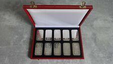 Schweiz 10 x 1 Oz Silber Barren Argor , Heraeus 999/1000 Silber in Schatulle