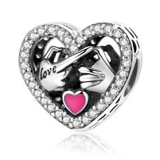 925 Sterling Silver Pink Enamel Love Heart European Charm Bead with Clear CZ