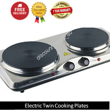 Twin Cooking Plates Portable Travel Hot Plate Bench Top Cooking Stove Cooktop