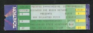 Original 1986 Bob Dylan Tom Petty Heartbreakers Unused Concert Ticket Costa Mesa