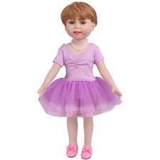 "18"" American Doll Dress Ballet Skirt For Girl Doll Dress Up Accs -Purple"