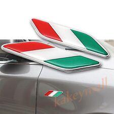 3D Chrome Decal Sticker IT Italy Flag Logo Emblem Badge Car Door Fender Trim 2X