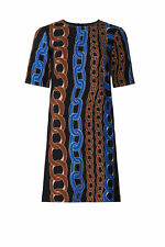 Marni Black Chain-Link-Print Women 2 (IT 38) Crewneck Shift Dress $1350- #843