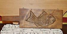 Antique JAPANESE MEIJI KASHIGATA Fish Hand Carved Wood Rice & Sweet Cake Mold