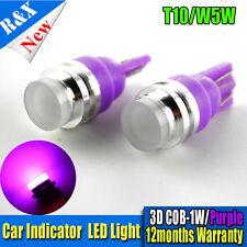 2X T10 W5W Purple 194 LED COB SMD 1W 3D Car Interior Side Wedge Light Bulb DC12V