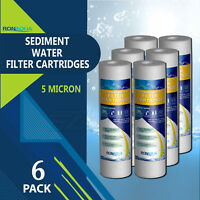 """6 Pack Sediment 5 Micron Water Filter Cartridges 2.5"""" x 10"""" for Reverse Osmosis"""