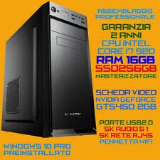 COMPUTER ASSEMBLATO PC FISSO INTEL i7-920 RAM 16GB SSD256GB DVDRW GTS450 2GB