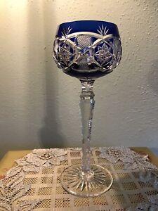 Val St.Lambert Cut to Clear Cobalt Blue Wine Glass