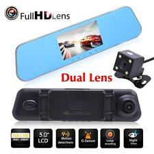 HD 1080P 5'' Dual Lens Car DVR Rear View Mirror Dash Cam Video Camera 170° Kit
