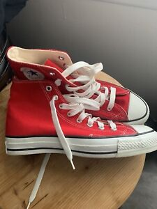 Vintage Converse Chuck Taylor All Star Hi Red / Made in USA /  Men Size 8 Rare