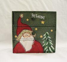2002 SANTA'S WORKBENCH Hand Painted Christmas 3-Drawer Wood Trinket Box~SO CUTE